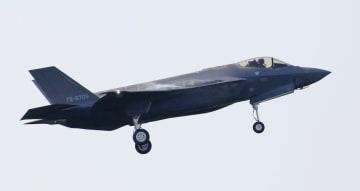 訓練中に消息を絶った航空自衛隊のステルス戦闘機F35A=2018年5月28日、青森県三沢市