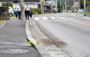 死亡ひき逃げ事故があった現場=2018年7月28日午前、川口市東本郷