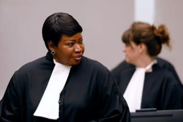 国際刑事裁判所(ICC)でのベンスダ主任検察官=2018年8月、オランダ・ハーグ(ロイター=共同)
