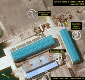 3月23日に撮影された北朝鮮東部新浦の造船所の衛星写真。(1)船体に使用されるとみられる部品(2)部品など(3)建造場(プレアデス(C)CNES 2019、エアバス・ディフェンス・アンド・スペース/38ノース提供・共同)
