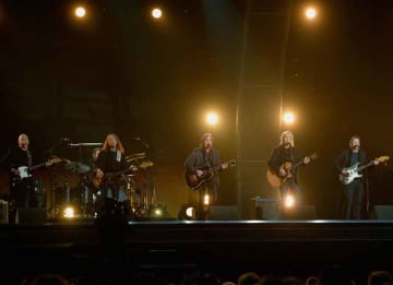 LOS ANGELES, CA - FEBRUARY 15: Musicians Bernie Leadon, Timothy B. Schmit, Jackson Browne, Joe Walsh and Steuart Smith, honoring Eagles founder Glenn Frey, perform onstage during The 58th GRAMMY Awards at Staples Center on February 15, 2016 in...
