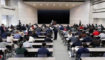 宿泊業界への外国人労働者の受け入れ拡大に向け、国内で初めて実施された新たな在留資格「特定技能」の試験の会場=14日午後、東京・霞が関