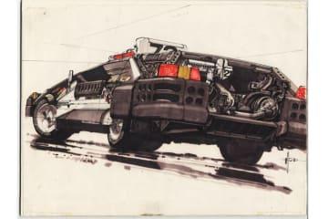 シド・ミード展 「Deckerd's Sedan」(c) Syd Mead, Inc. (c) 1982 The Blade Runner Partnership. All Rights Reserved.