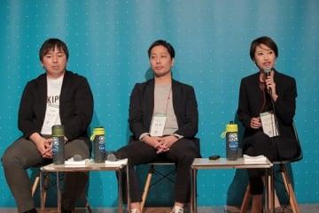 左からakippaの金谷元気CEO、アグリメディアの諸藤貴志代表、READYFORの米良はるか代表