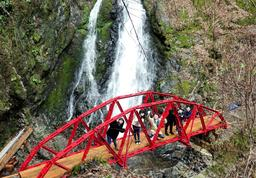 天滝への登山道に架かった「トラス橋」の設計を担当した舞鶴工業高等専門学校の玉田和也教授(中央)ら=養父市大屋町筏