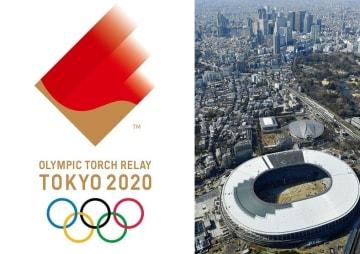 2020年東京五輪聖火リレーエンブレムと新国立競技場