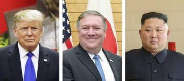 左からトランプ米大統領(AP=共同)、ポンペオ米国務長官、北朝鮮の金正恩朝鮮労働党委員長(新華社=共同)