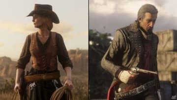 左:ワニ帽子とオルテガベストを着用 右:モーニングテイルコート、飾りボタンのズボン、毛皮の手袋を着用