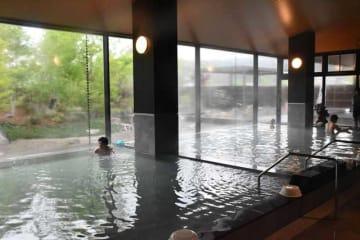 日本庭園を楽しめる内風呂や露天風呂、屋根付きの半露天風呂などがある「妻湯」の浴場