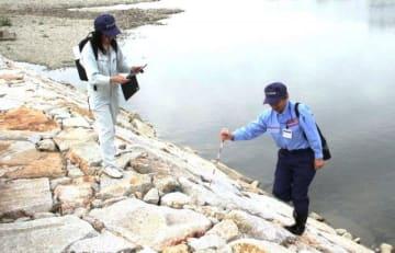 西日本豪雨後に補修した護岸をチェックする職員ら