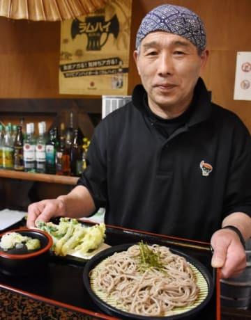 山菜天ぷらと十割そばが楽しめる春乃家の寒ざらしそばセット