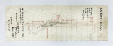 鉄砲鍛冶屋敷から見つかった鉄砲の注文図面(堺市提供)