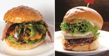 A4丹波牛京野菜ベーコンチーズバーガー(左)と但馬牛おとなのテリヤキバーガー