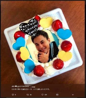 JOYさんに贈られたという誕生日ケーキ(ツイッター投稿より)