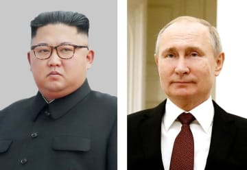 北朝鮮の金正恩朝鮮労働党委員長、ロシアのプーチン大統領