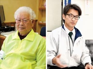 「独特なアイデア力で室蘭に新しい風を」と語る小川幹事長(左)、「手応えはとてもいいです」と語る橋本幹事長(右)