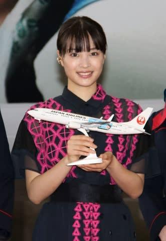 NHK連続テレビ小説「なつぞら」の特別塗装機お披露目会に出席した広瀬すずさん