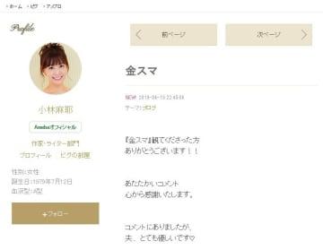 テレビ出演を報告する小林麻耶さんのブログ