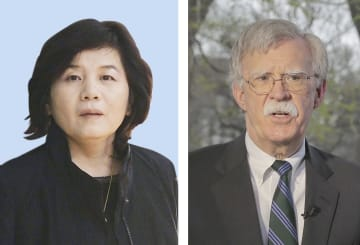 北朝鮮の崔善姫第1外務次官(左)、ボルトン米大統領補佐官(ロイター=共同)