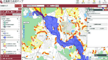 県が公表した「ため池マップ」。決壊時の浸水エリアを青で示す