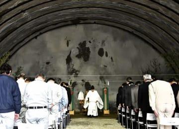 荒島第2トンネル工事の安全を願った祈願祭=4月19日、福井県大野市下山