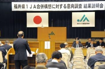 県1JAに65%が反対したことが報告された意向調査結果説明会=4月21日、福井県越前市の越前たけふ農協会館
