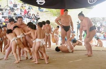 力を合わせて佐渡ケ嶽部屋の力士に立ち向かう児童ら=21日、倉吉市営相撲広場