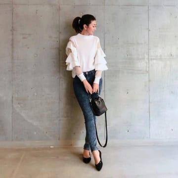 春はフェミニン袖でスイートに♥ フリル袖&リボン袖のおしゃれなアイテムコーデ10選