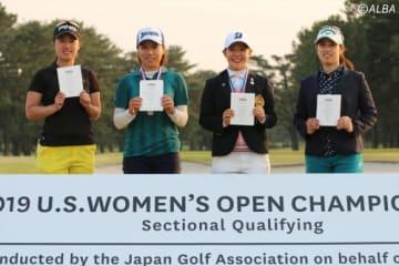全米女子OPの出場権を獲得した4人 左から上野菜々子、岡山絵里、吉田優利、天本遥香(撮影:ALBA)
