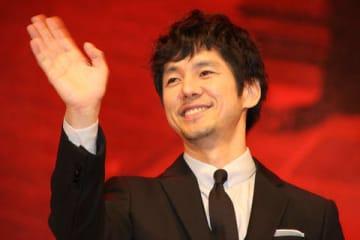 映画「空母いぶき」の完成披露試写会に登場した西島秀俊さん