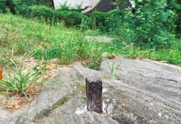 ランデルが打った測量用の鉄杭。目標は65ストリートと7アベニューの架空の交錯点。ヒントは後方の建物