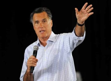 Republican presidential candidate Mitt Romney makes his first public appearance since his controversial statements during a fund raiser at a Juntos Con Romney Rally at the E. Darwin Fuchs Pavilion