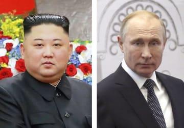 北朝鮮の金正恩朝鮮労働党委員長(朝鮮中央通信=共同)、ロシアのプーチン大統領(ゲッティ=共同)