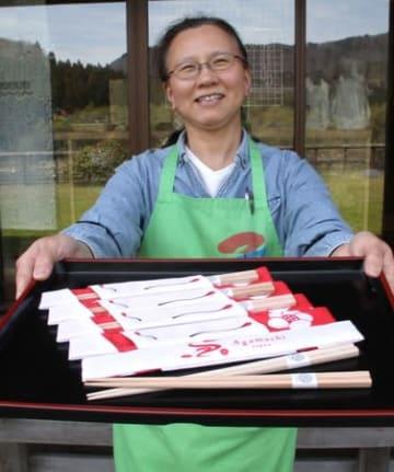 「狐の嫁入り」箸と箸袋で身近に 阿賀 30周年記念グッズ販売へ