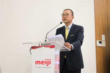 President Director of PT. Meiji Indonesian Pharmaceutical Industries, Masa Satoh, speaking in Jakarta as the company prepares to open a new head office.