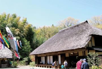 会場の1つ舞岡公園。小谷戸の里・古民家入口にスタンプ台が設置される