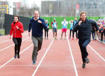 LONDON, ENGLAND - FEBRUARY 05: Catherine, Duchess of Cambridge, Prince William, Duke of Cambridge and Prince Harry race during a Marathon Training Day with Team Heads Together at the Queen Elizabeth Olympic Park on February 5, 2017 in London,...