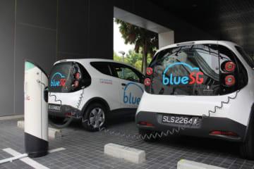 ブルーSGが一般の電気自動車(EV)にも開放する充電設備=シンガポール西部(NNA撮影)
