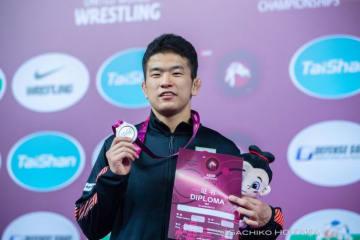 <レスリング>【写真集】2019年アジア選手権・第1日/男子フリースタイル70kg級・志賀晃次郎(拓大)