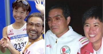 左は2000年9月、シドニー五輪女子マラソンで金メダルを獲得した高橋尚子さんと握手する小出義雄コーチ(共同) 右は1992年8月、バルセロナ五輪女子マラソンで銀メダルを獲得し記者会見する有森裕子さんと小出さん(共同)