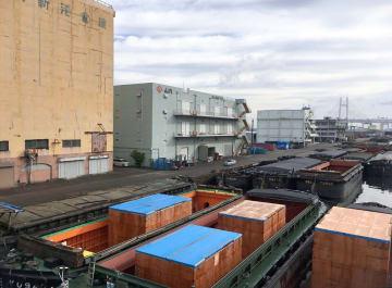 14,15日の48時間ストライキで港湾機能が止まった横浜港=15日、横浜市中区の山下ふ頭