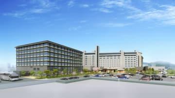 来年春の開業を目指す高山グリーンホテルの新館(左、完成予想図)