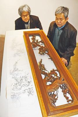 名作欄間の下絵発見 井波彫刻師 高桑さん 初代大島五雲の作