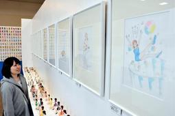 人気キャラクター「コップのフチ子」の原画=神戸市北区上津台8、イオンモール神戸北
