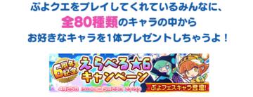 『ぷよクエ』「えらべる★6キャンペーン」実施中!対象は「あかいアミティ」や「くろいシグ」らフェス限定キャラも含めた全80種類