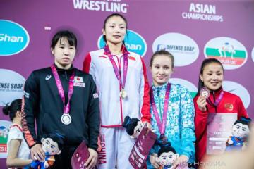 <レスリング>【写真集】2019年アジア選手権・第3日/女子55kg級・五十嵐彩季(至学館大)