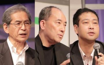 セッション「サイエンス×テクノロジーで拓くサステナブルな未来」。左からファシリテーターの川村雅彦氏、ブリヂストンの原秀男氏、オムロンサイニックエックスの諏訪正樹氏