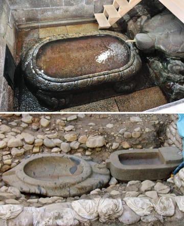 大阪市の四天王寺にある亀形石造物(上、25日撮影)。左側の下水槽が元は亀形で、右側の上水槽にある亀の頭部や甲羅は後世のもの。下は奈良県明日香村の酒船石遺跡から出土した亀形石造物(2000年12月撮影)