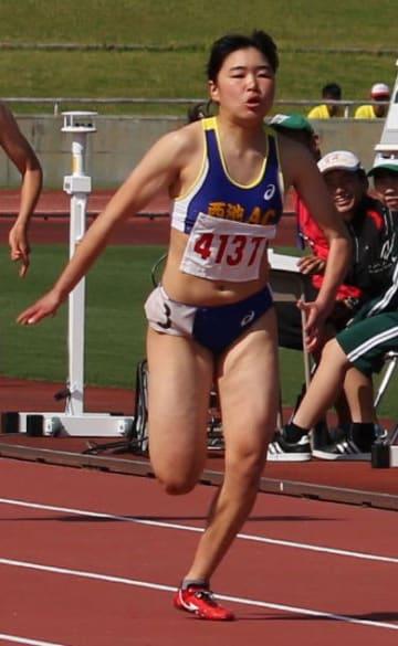 【女子100メートル決勝】11秒78の大会新記録で優勝した新坂太佳子(西池AC)