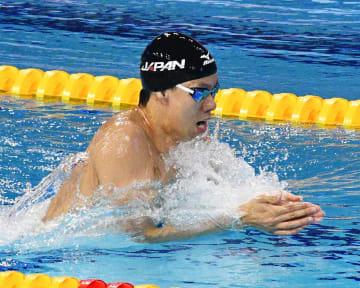 男子200メートル平泳ぎで3位だった渡辺一平=広州(共同)